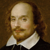 Painting of the head of William Shakespeare.