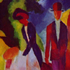 Thumbnail and detail of painting by August Macke in blocks of bold color showing man and woman and small child, with trees around them and blue sky in background.