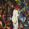 Thumbnail and detail of painting by August Macke of a man and woman, from the side. The woman is dressed in white and largely obscures the man. They appear to be walking to the right.