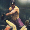 Thumbnail and detail of painting by George Bellows of historic boxing match between Jack Dempsey and Luis Firpo, showing Firpo getting hit and falling out of the ring into the spectators.