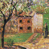 Thumbnail and detail of painting by Camille Pissarro of flowering plum tree in front of house in impressionist style.