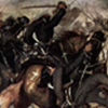 Thumbnail of a painting by Giovanni Fattori that shows a horrific battle taking place between soldiers in white and black with men laying on the ground and being shot.