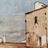 Thumbnail of painting by Giovanni Fattori of a cream-colored house on brown earth with blue sky.