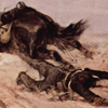 Thumbnail of a painting by Giovanni Fattori that shows a man, face down, with his foot caught in the stirrups of a saddle, being dragged by a horse.