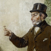 Thumbnail and detail of painting showing a man in dark coat and top hat holding pencil-sized gold object in one hand.