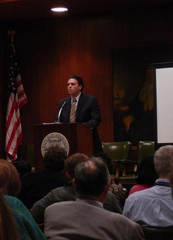 Richard A. Klass, Esq. moderating a foreclosure seminar at the Brooklyn Bar Association.
