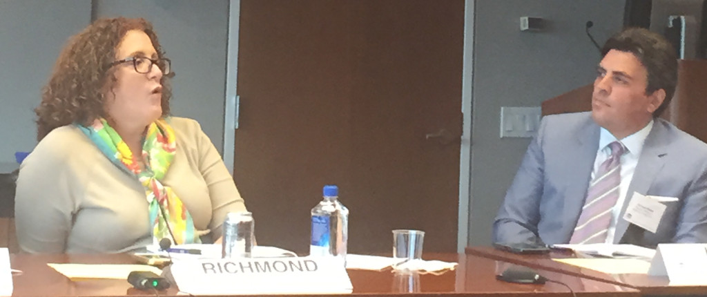 "Carolyn Richmond, Esq. (L) with Richard Klass, Esq. at June 2015 CLE ""The Do's and Don'ts of Finding and Hiring an Associate"" at the New York State Bar Association."