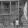 Detail and thumbnail of engraving in black ink of a very old-fashioned house of wood and plaster with people in old-fashioned dress engaged in various activities on the street in front of the house.
