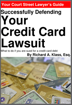 """Cover of book """" Successfully Defending Your Credit Card Lawsuit """" by Richard A. Klass, Esq. Image shows a pile of credit cards, mostly gold cards, from various banks and card companies."""