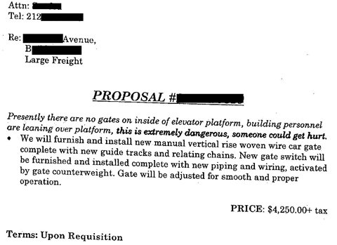 """Scan of redacted proposal, with words in bold saying, about an elevator that lacked a gate on the inside of the elevator platform, """"this is extremely dangerous, someone could get hurt."""" This image illustrates an article by Richard Klass discussing a personal injury case."""